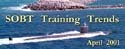 Newsletter banner for the April 2001 edition of SOBT Training Trends.